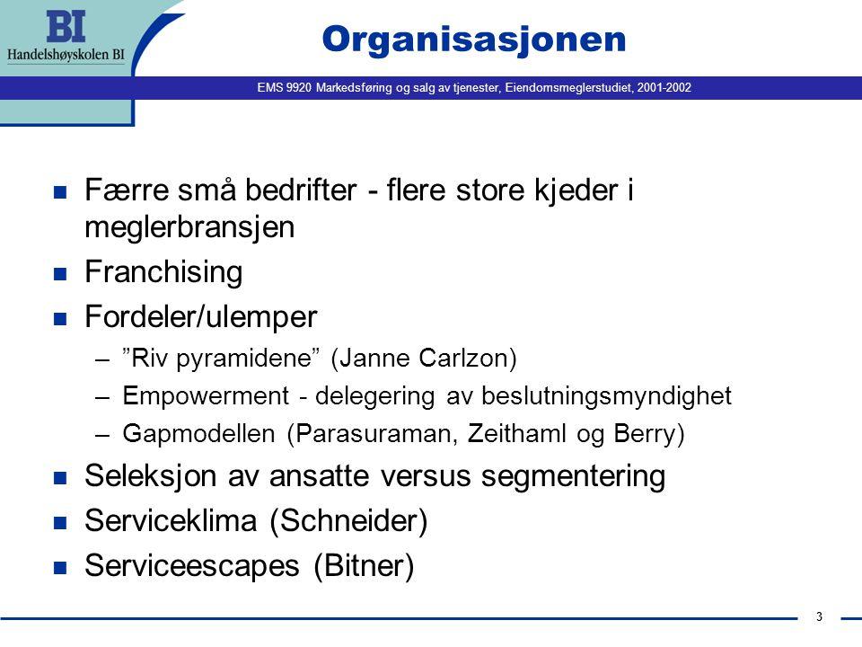 EMS 9920 Markedsføring og salg av tjenester, Eiendomsmeglerstudiet, 2001-2002 2 Agenda n 11:15 - 11:45: Case: Club Med Changing with the times Diskusjon og oppsummering.