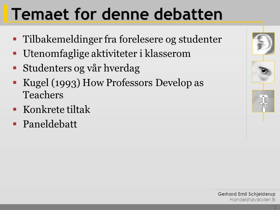 2 Gerhard Emil Schjelderup Handelshøyskolen BI Temaet for denne debatten  Tilbakemeldinger fra forelesere og studenter  Utenomfaglige aktiviteter i