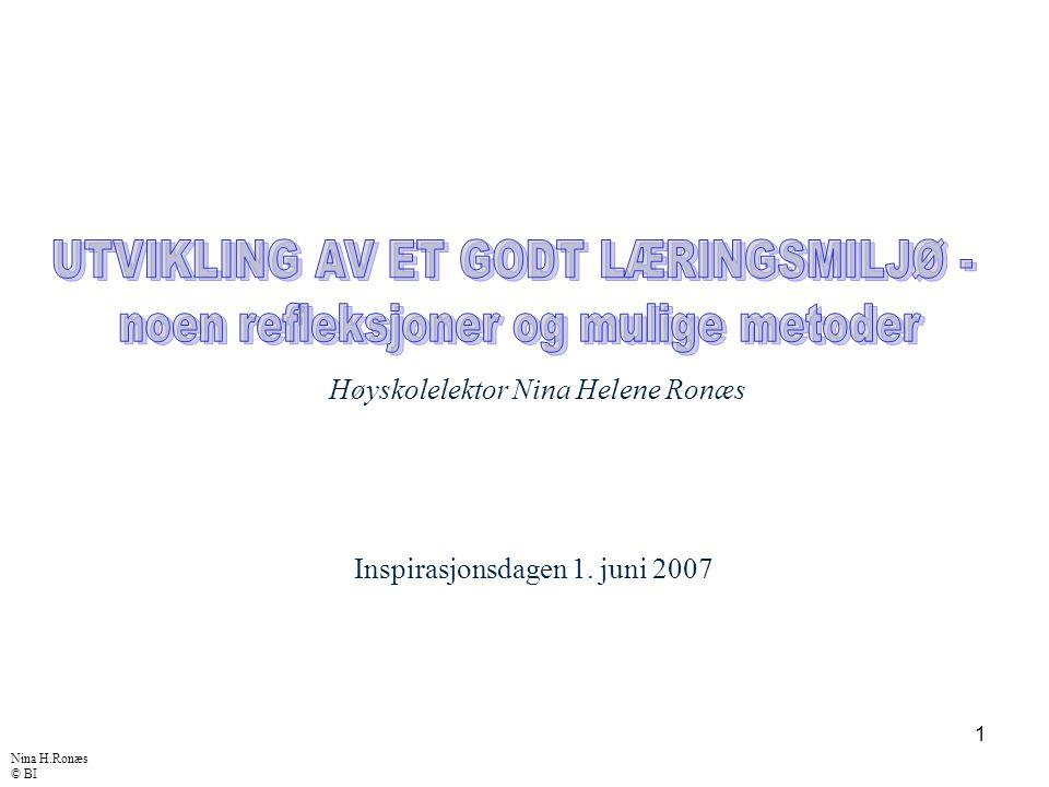 1 Inspirasjonsdagen 1. juni 2007 Høyskolelektor Nina Helene Ronæs Nina H.Ronæs © BI