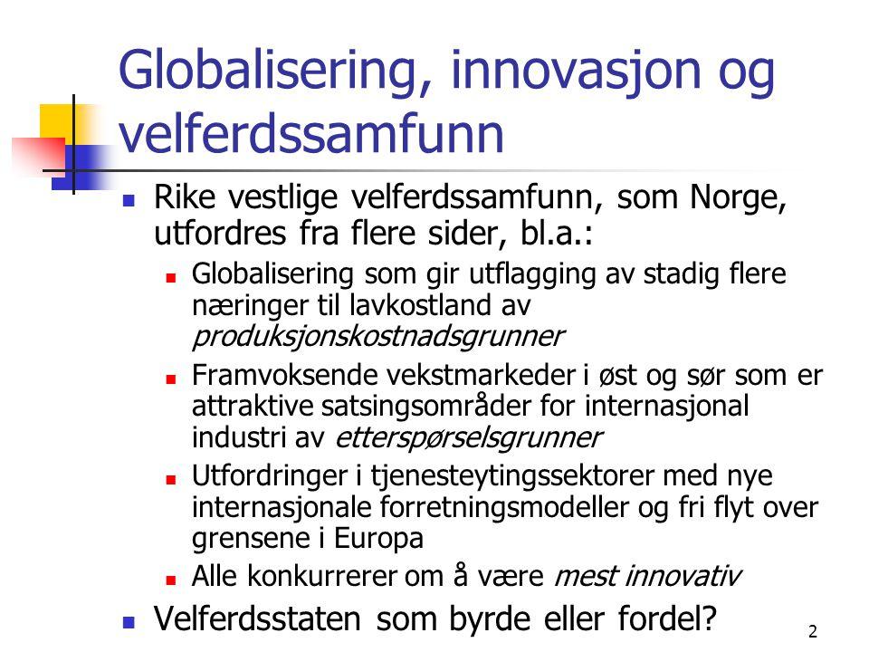2 Globalisering, innovasjon og velferdssamfunn Rike vestlige velferdssamfunn, som Norge, utfordres fra flere sider, bl.a.: Globalisering som gir utflagging av stadig flere næringer til lavkostland av produksjonskostnadsgrunner Framvoksende vekstmarkeder i øst og sør som er attraktive satsingsområder for internasjonal industri av etterspørselsgrunner Utfordringer i tjenesteytingssektorer med nye internasjonale forretningsmodeller og fri flyt over grensene i Europa Alle konkurrerer om å være mest innovativ Velferdsstaten som byrde eller fordel