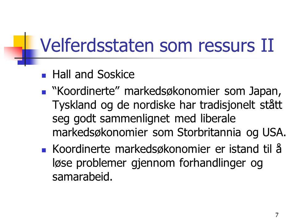 """7 Velferdsstaten som ressurs II Hall and Soskice """"Koordinerte"""" markedsøkonomier som Japan, Tyskland og de nordiske har tradisjonelt stått seg godt sam"""