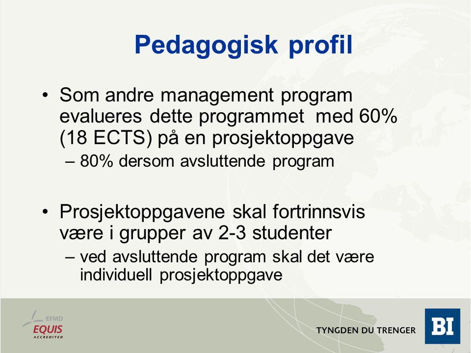 Pedagogisk profil De resterende 40% (12 ECTS) evalueres ikke med avsluttende skriftlig eksamen Prosessevaluering: –Case + klassedeltakelse
