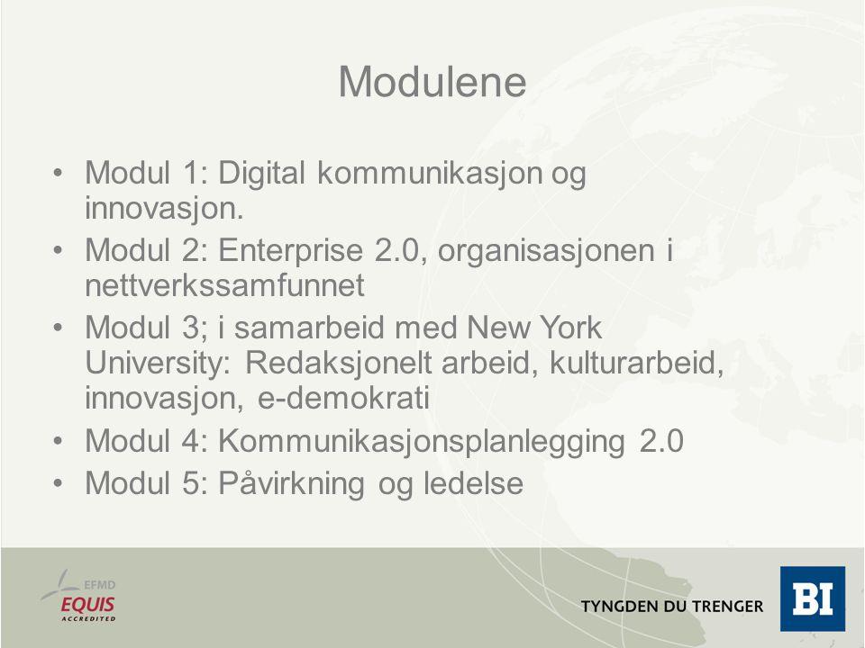 Modulene Modul 1: Digital kommunikasjon og innovasjon. Modul 2: Enterprise 2.0, organisasjonen i nettverkssamfunnet Modul 3; i samarbeid med New York
