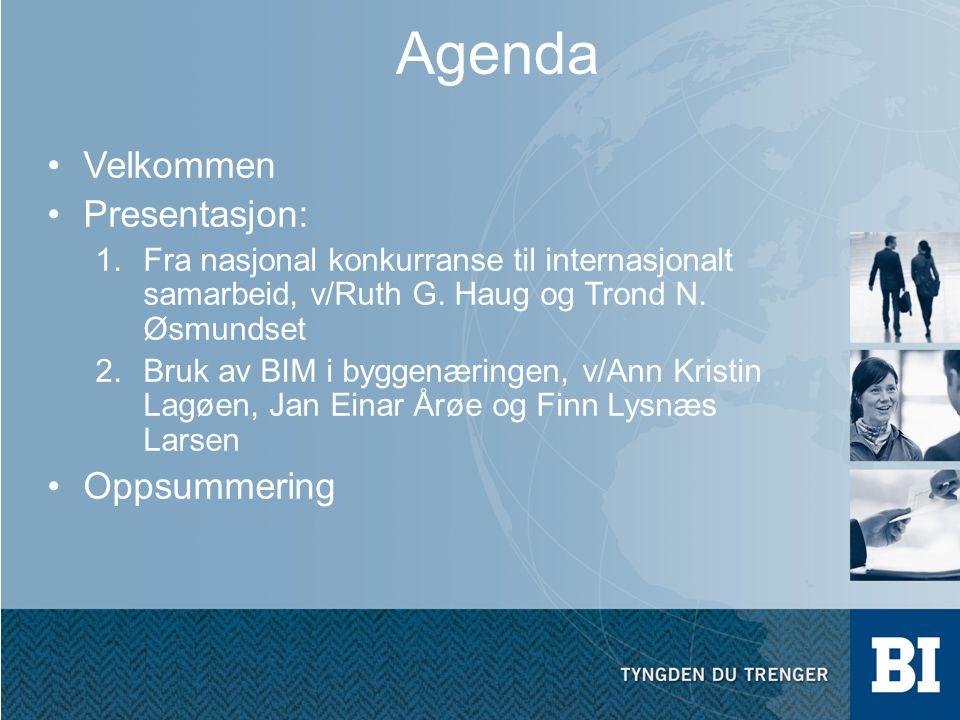 Agenda Velkommen Presentasjon: 1.Fra nasjonal konkurranse til internasjonalt samarbeid, v/Ruth G. Haug og Trond N. Øsmundset 2.Bruk av BIM i byggenæri