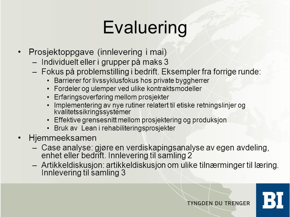 Evaluering Prosjektoppgave (innlevering i mai) –Individuelt eller i grupper på maks 3 –Fokus på problemstilling i bedrift. Eksempler fra forrige runde