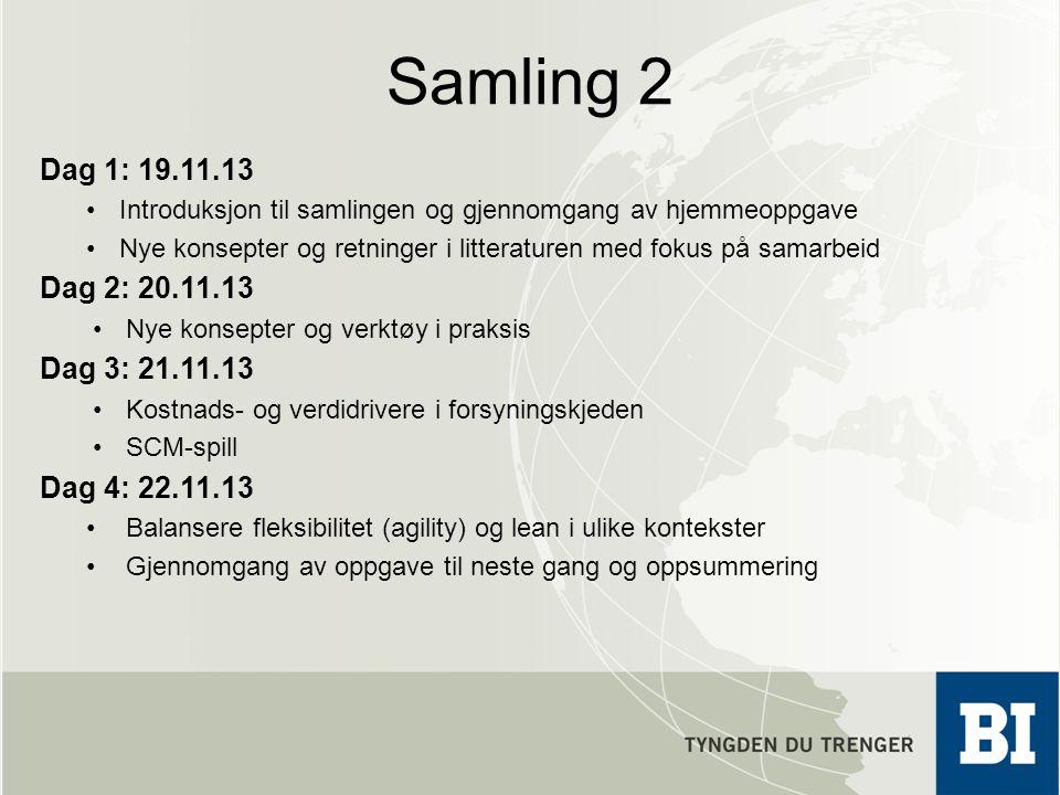 Samling 2 Dag 1: 19.11.13 Introduksjon til samlingen og gjennomgang av hjemmeoppgave Nye konsepter og retninger i litteraturen med fokus på samarbeid
