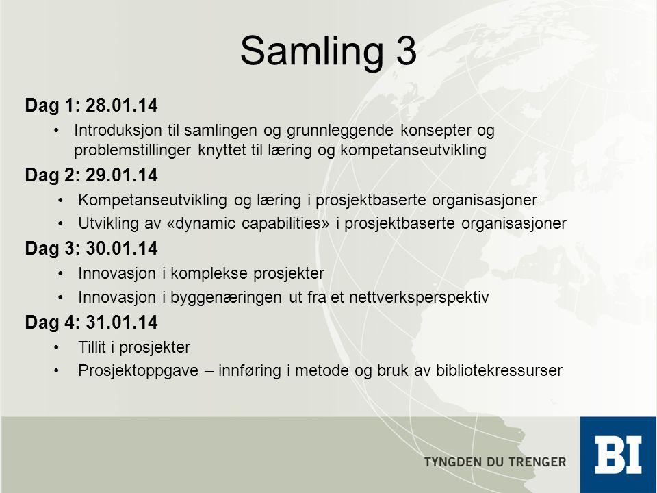 Samling 3 Dag 1: 28.01.14 Introduksjon til samlingen og grunnleggende konsepter og problemstillinger knyttet til læring og kompetanseutvikling Dag 2: