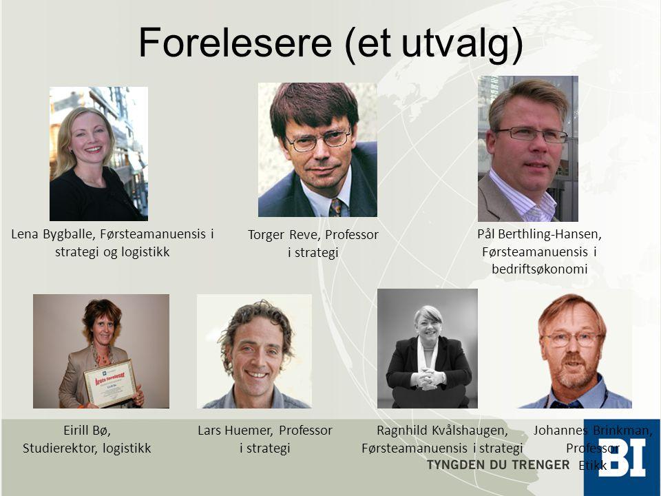 Forelesere (et utvalg) Torger Reve, Professor i strategi Johannes Brinkman, Professor Etikk Ragnhild Kvålshaugen, Førsteamanuensis i strategi Lena Byg