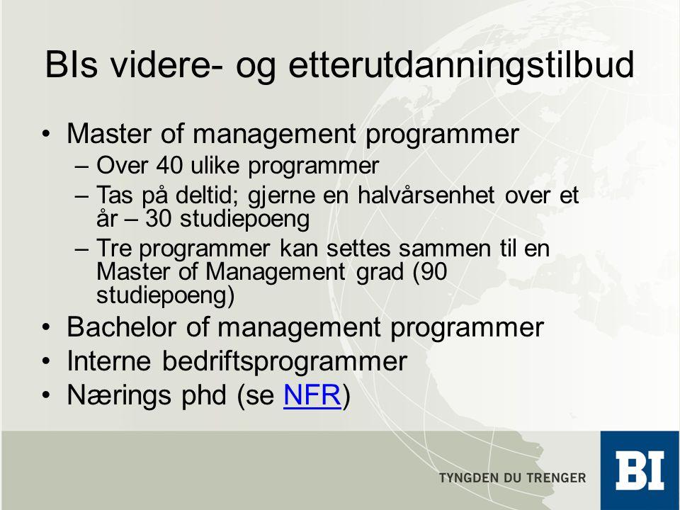 BIs videre- og etterutdanningstilbud Master of management programmer –Over 40 ulike programmer –Tas på deltid; gjerne en halvårsenhet over et år – 30