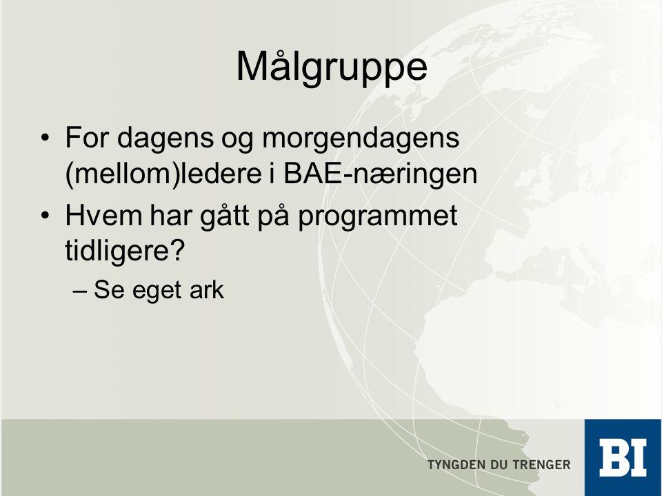 Målgruppe For dagens og morgendagens (mellom)ledere i BAE-næringen Hvem har gått på programmet tidligere? –Se eget ark