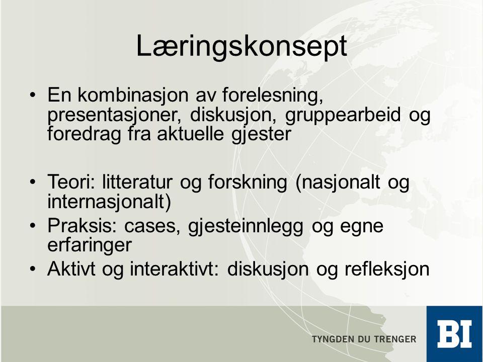 Læringskonsept En kombinasjon av forelesning, presentasjoner, diskusjon, gruppearbeid og foredrag fra aktuelle gjester Teori: litteratur og forskning