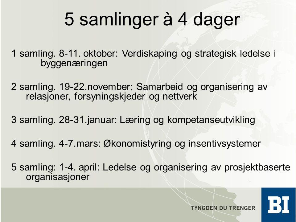 5 samlinger à 4 dager 1 samling. 8-11. oktober: Verdiskaping og strategisk ledelse i byggenæringen 2 samling. 19-22.november: Samarbeid og organiserin