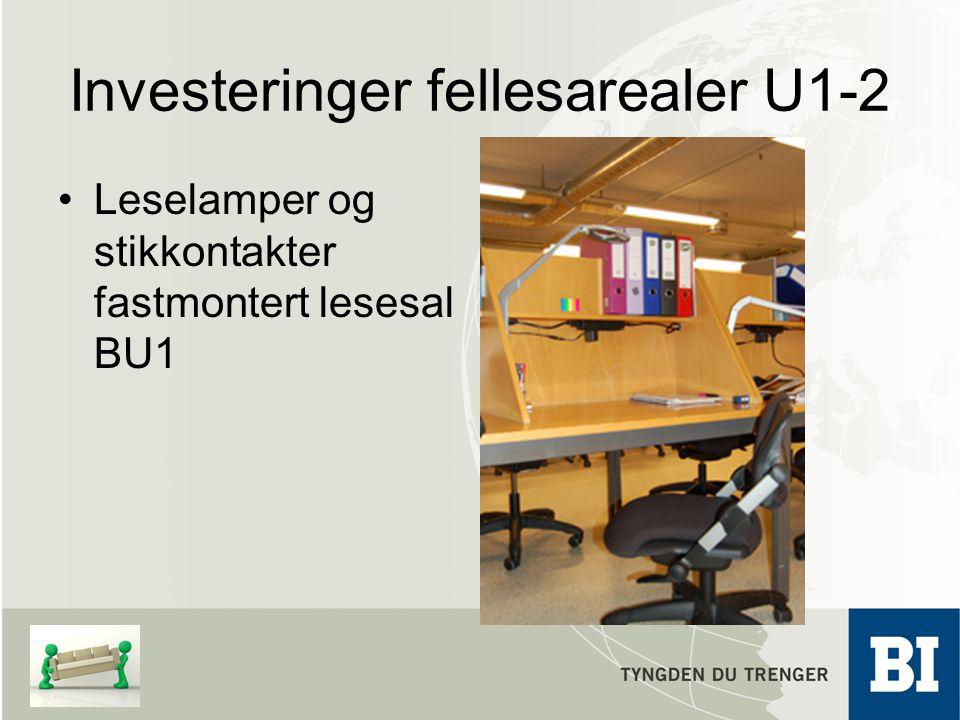 Investeringer fellesarealer U1-2 Leselamper og stikkontakter fastmontert lesesal BU1