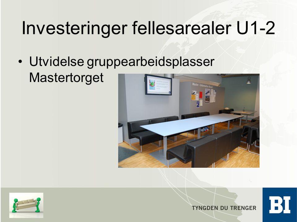 Investeringer fellesarealer U1-2 Utvidelse gruppearbeidsplasser Mastertorget