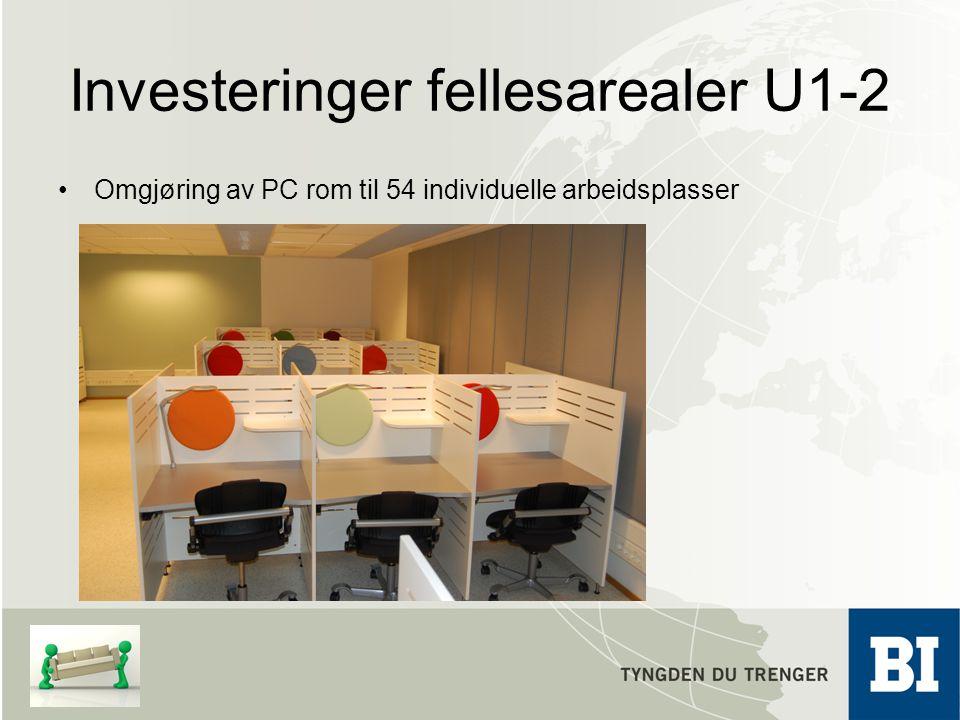 Investeringer fellesarealer U1-2 Omgjøring av PC rom til 54 individuelle arbeidsplasser