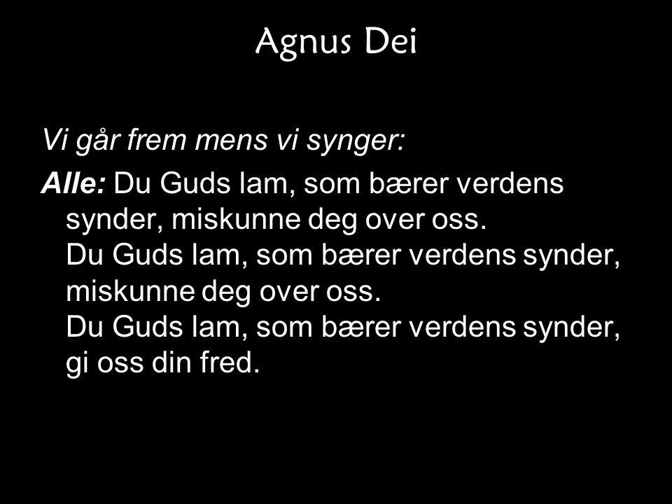 Agnus Dei Vi går frem mens vi synger: Alle: Du Guds lam, som bærer verdens synder, miskunne deg over oss. Du Guds lam, som bærer verdens synder, misku