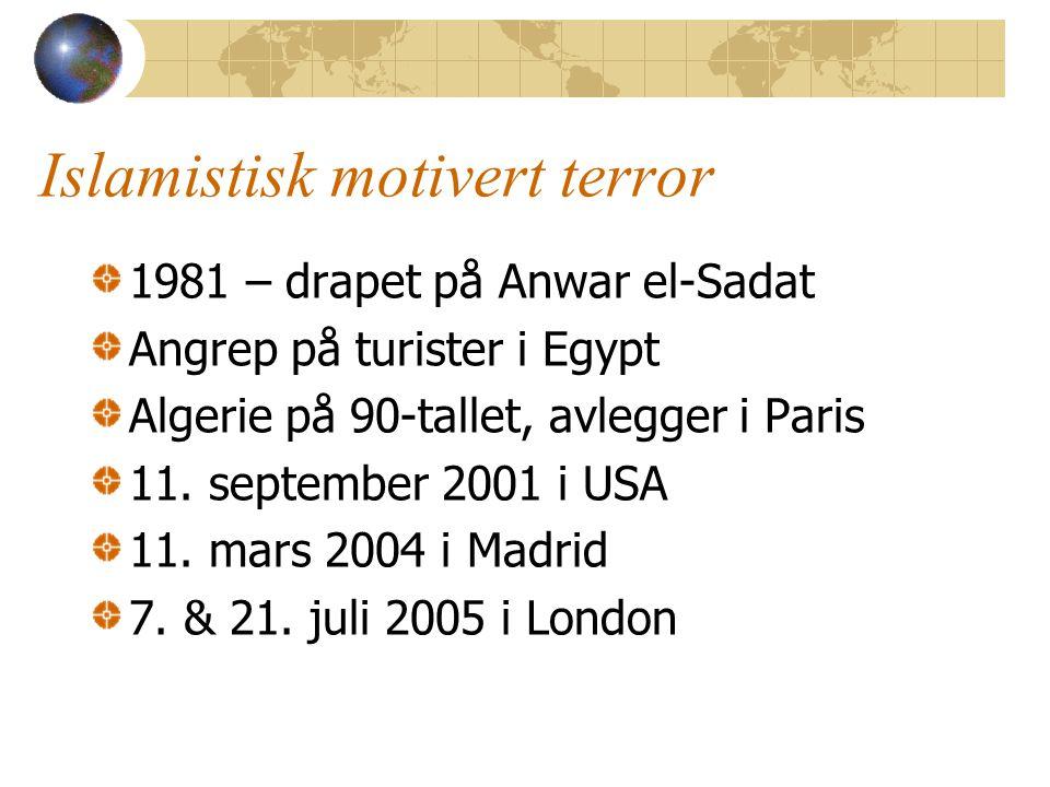 Islamistisk motivert terror 1981 – drapet på Anwar el-Sadat Angrep på turister i Egypt Algerie på 90-tallet, avlegger i Paris 11. september 2001 i USA