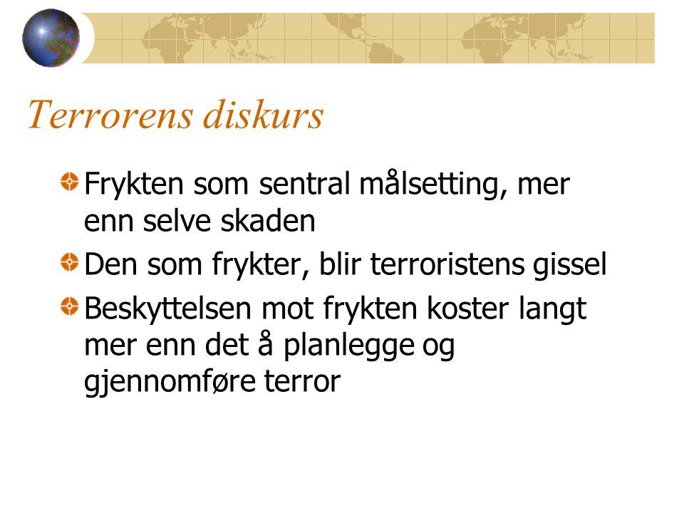 Terrorens diskurs Frykten som sentral målsetting, mer enn selve skaden Den som frykter, blir terroristens gissel Beskyttelsen mot frykten koster langt mer enn det å planlegge og gjennomføre terror
