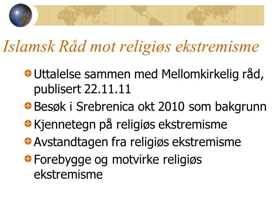 Islamsk Råd mot religiøs ekstremisme Uttalelse sammen med Mellomkirkelig råd, publisert 22.11.11 Besøk i Srebrenica okt 2010 som bakgrunn Kjennetegn på religiøs ekstremisme Avstandtagen fra religiøs ekstremisme Forebygge og motvirke religiøs ekstremisme