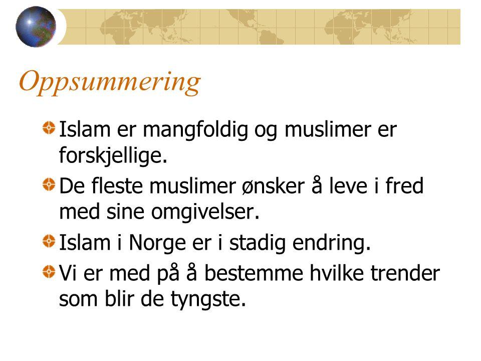 Oppsummering Islam er mangfoldig og muslimer er forskjellige. De fleste muslimer ønsker å leve i fred med sine omgivelser. Islam i Norge er i stadig e