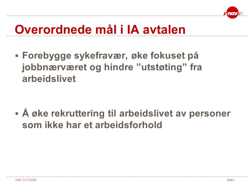 """NAV, 11.07.2014Side 2 Overordnede mål i IA avtalen  Forebygge sykefravær, øke fokuset på jobbnærværet og hindre """"utstøting"""" fra arbeidslivet  Å øke"""