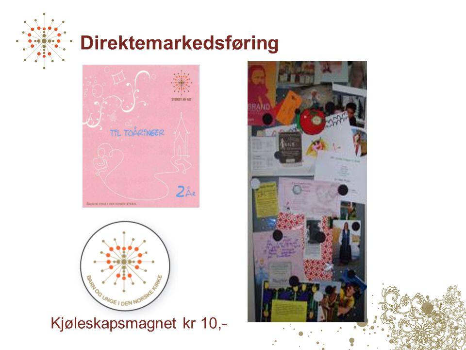Direktemarkedsføring Kjøleskapsmagnet kr 10,-