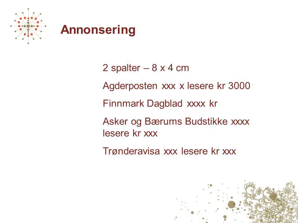 Annonsering 2 spalter – 8 x 4 cm Agderposten xxx x lesere kr 3000 Finnmark Dagblad xxxx kr Asker og Bærums Budstikke xxxx lesere kr xxx Trønderavisa xxx lesere kr xxx
