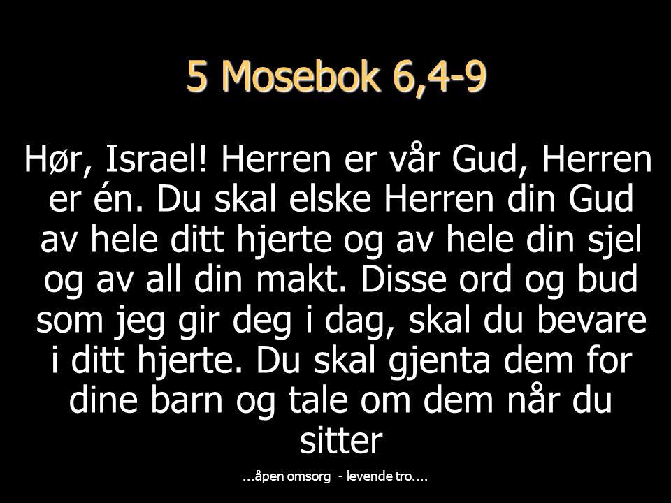 5 Mosebok 6,4-9 Hør, Israel.Herren er vår Gud, Herren er én.