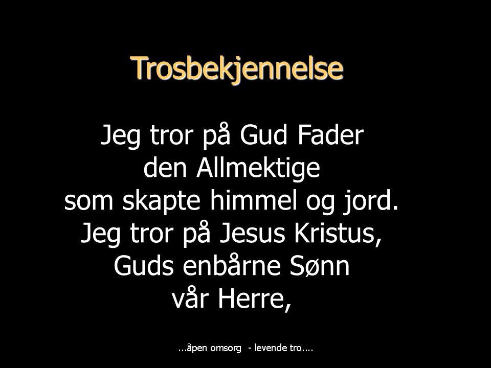 Trosbekjennelse Jeg tror på Gud Fader den Allmektige som skapte himmel og jord. Jeg tror på Jesus Kristus, Guds enbårne Sønn vår Herre,