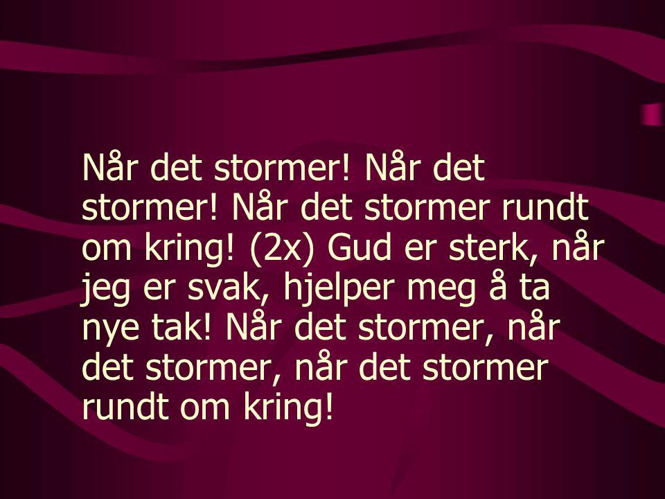 Når det stormer! Når det stormer! Når det stormer rundt om kring! (2x) Gud er sterk, når jeg er svak, hjelper meg å ta nye tak! Når det stormer, når d