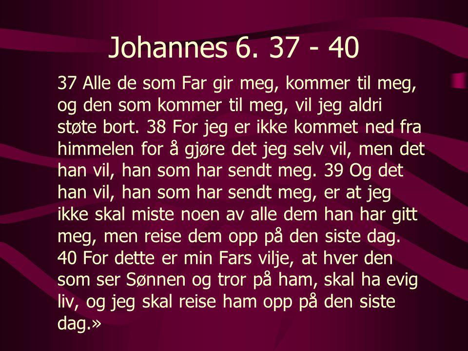 Johannes 6. 37 - 40 37 Alle de som Far gir meg, kommer til meg, og den som kommer til meg, vil jeg aldri støte bort. 38 For jeg er ikke kommet ned fra