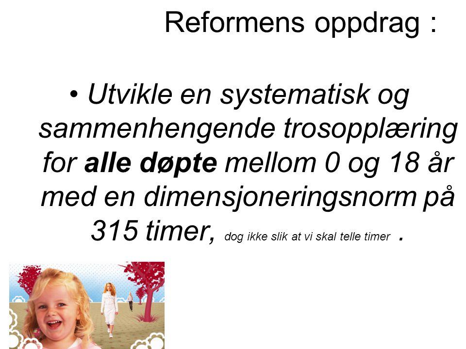 Reformens oppdrag : Utvikle en systematisk og sammenhengende trosopplæring for alle døpte mellom 0 og 18 år med en dimensjoneringsnorm på 315 timer, d