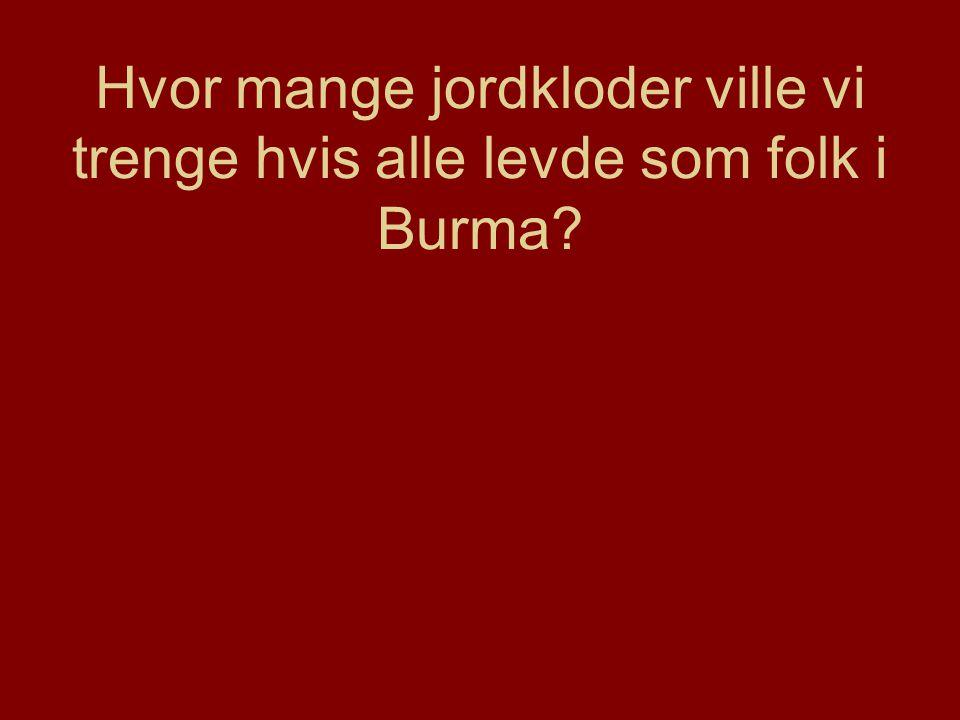 Hvor mange jordkloder ville vi trenge hvis alle levde som folk i Burma?