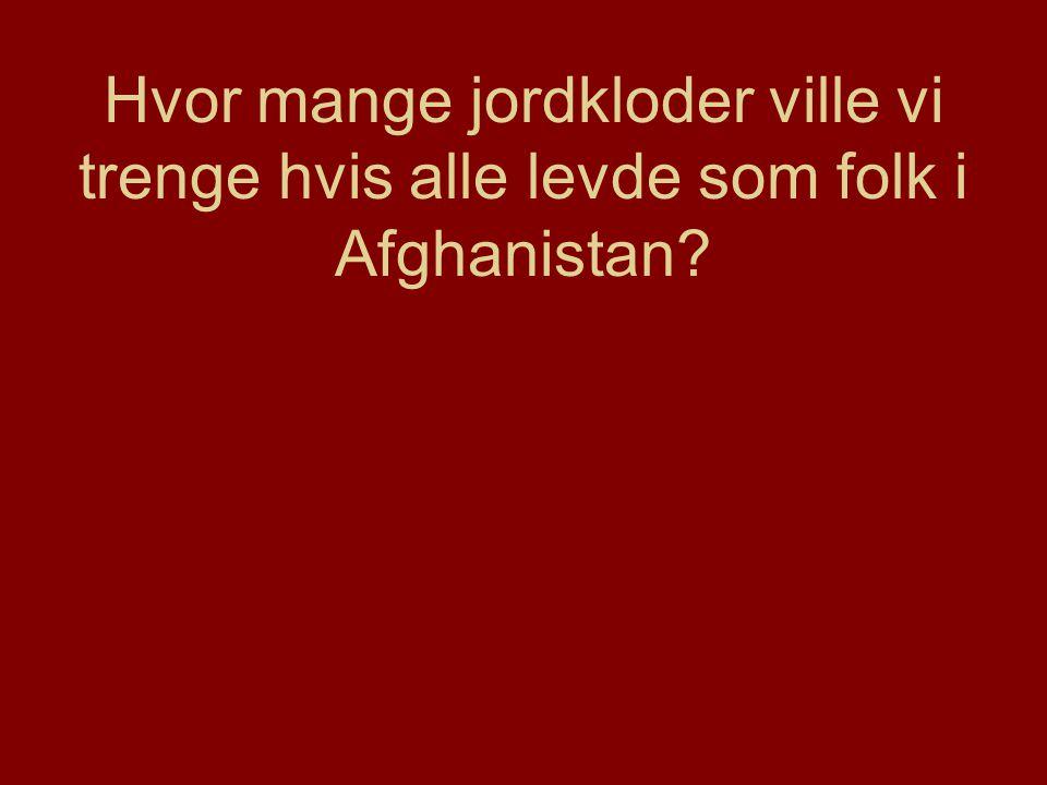 Hvor mange jordkloder ville vi trenge hvis alle levde som folk i Afghanistan?
