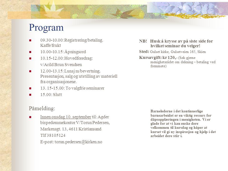 Program 09.30-10.00: Registrering/betaling.