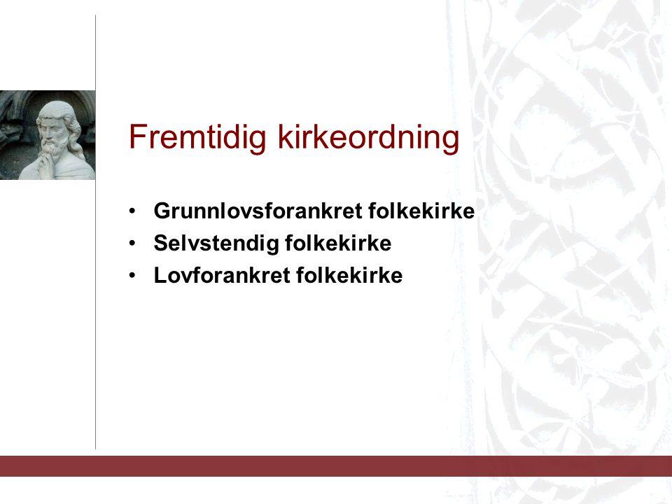 Fremtidig kirkeordning Grunnlovsforankret folkekirke Selvstendig folkekirke Lovforankret folkekirke