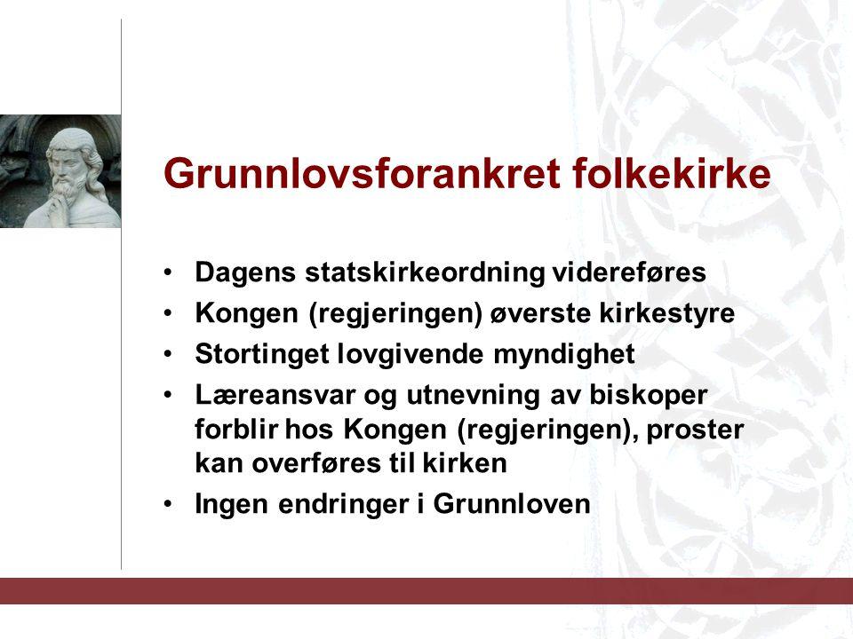 Grunnlovsforankret folkekirke Dagens statskirkeordning videreføres Kongen (regjeringen) øverste kirkestyre Stortinget lovgivende myndighet Læreansvar