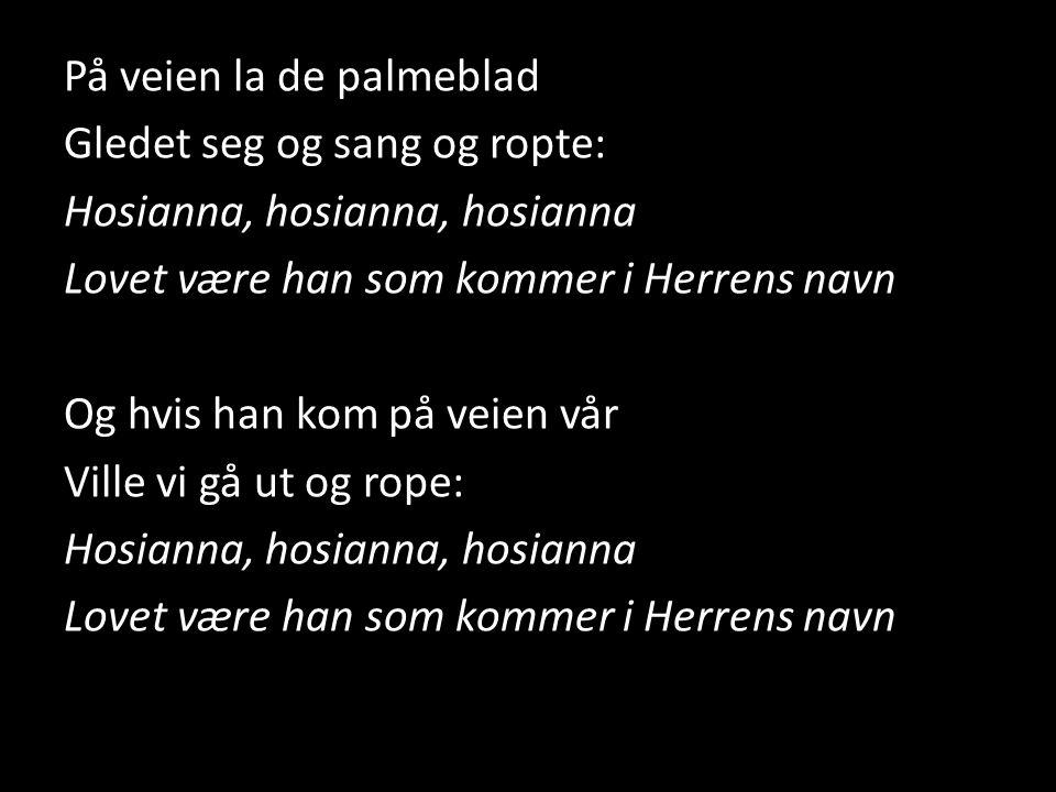 På veien la de palmeblad Gledet seg og sang og ropte: Hosianna, hosianna, hosianna Lovet være han som kommer i Herrens navn Og hvis han kom på veien v