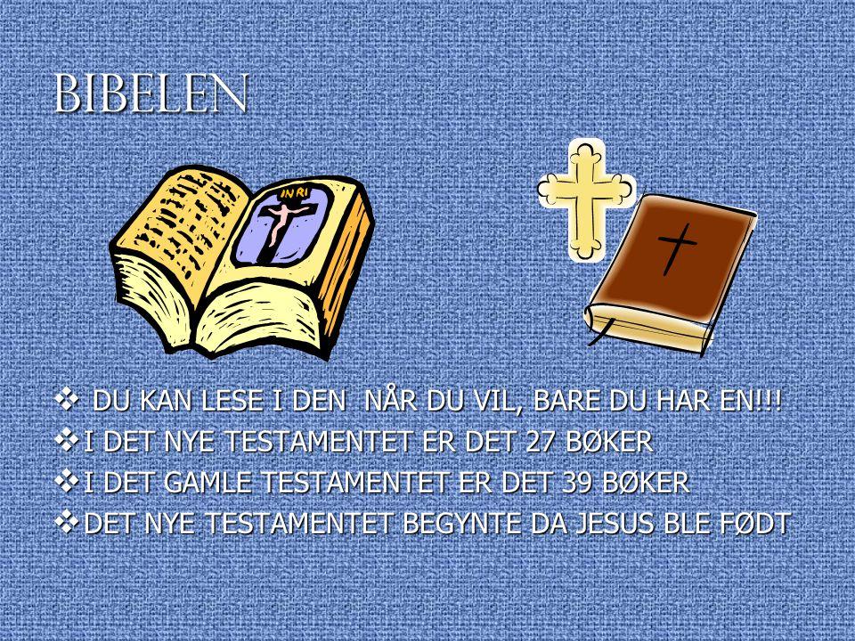 BIBELEN  DU KAN LESE I DEN NÅR DU VIL, BARE DU HAR EN!!!  I DET NYE TESTAMENTET ER DET 27 BØKER  I DET GAMLE TESTAMENTET ER DET 39 BØKER  DET NYE