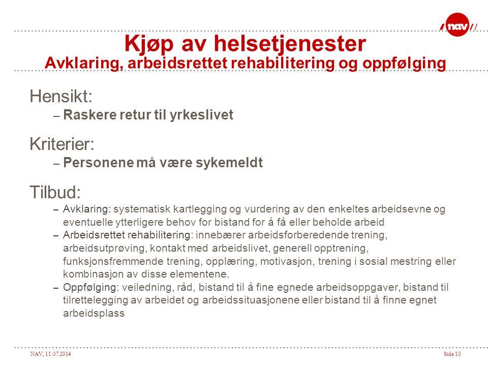 NAV, 11.07.2014Side 10 Kjøp av helsetjenester Avklaring, arbeidsrettet rehabilitering og oppfølging Hensikt: – Raskere retur til yrkeslivet Kriterier: