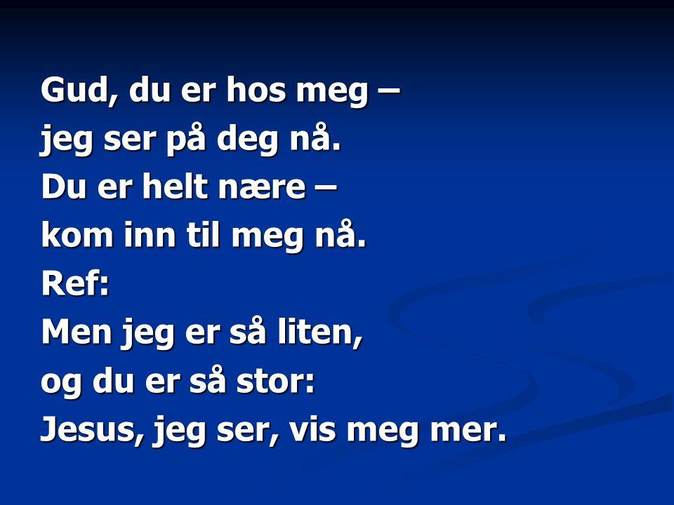 Gud, du er hos meg – jeg ser på deg nå. Du er helt nære – kom inn til meg nå. Ref: Men jeg er så liten, og du er så stor: Jesus, jeg ser, vis meg mer.