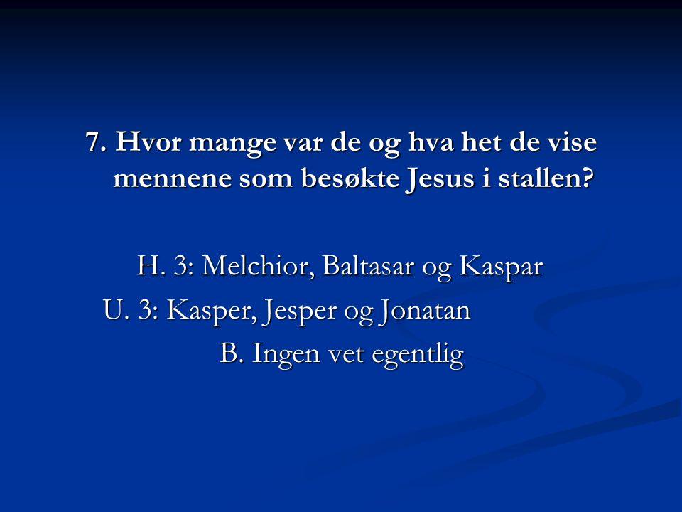 7.Hvor mange var de og hva het de vise mennene som besøkte Jesus i stallen.