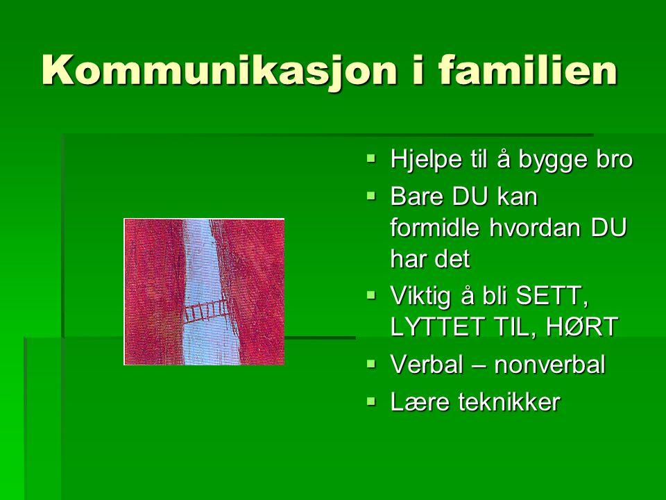 Kommunikasjon i familien  Hjelpe til å bygge bro  Bare DU kan formidle hvordan DU har det  Viktig å bli SETT, LYTTET TIL, HØRT  Verbal – nonverbal