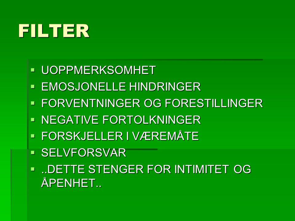 FILTER  UOPPMERKSOMHET  EMOSJONELLE HINDRINGER  FORVENTNINGER OG FORESTILLINGER  NEGATIVE FORTOLKNINGER  FORSKJELLER I VÆREMÅTE  SELVFORSVAR ..