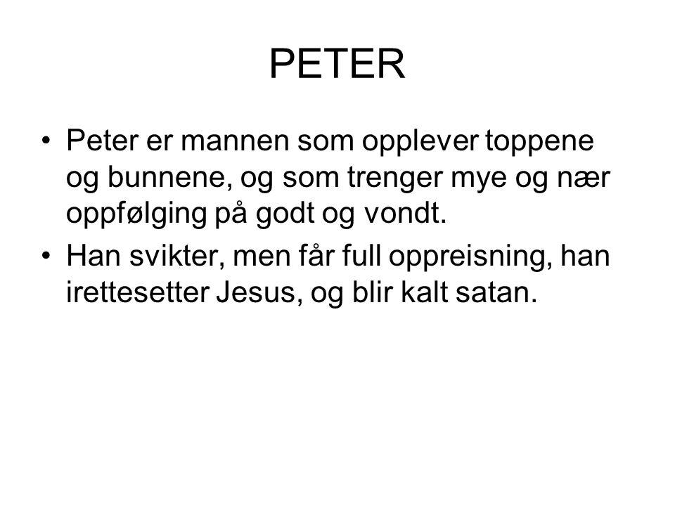 PETER Peter er mannen som opplever toppene og bunnene, og som trenger mye og nær oppfølging på godt og vondt. Han svikter, men får full oppreisning, h