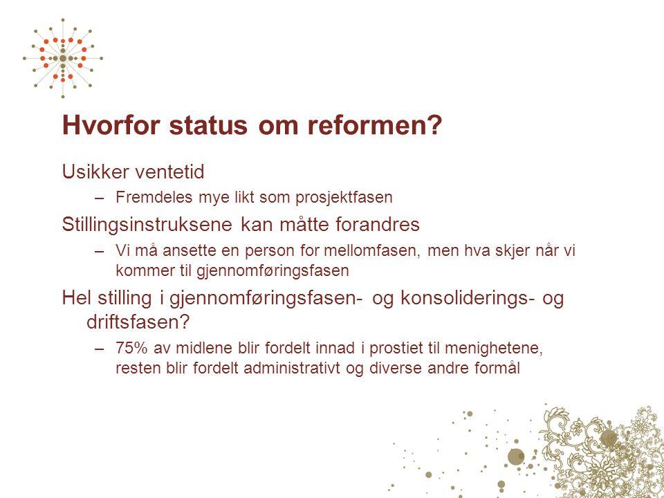 Hvorfor status om reformen? Usikker ventetid –Fremdeles mye likt som prosjektfasen Stillingsinstruksene kan måtte forandres –Vi må ansette en person f