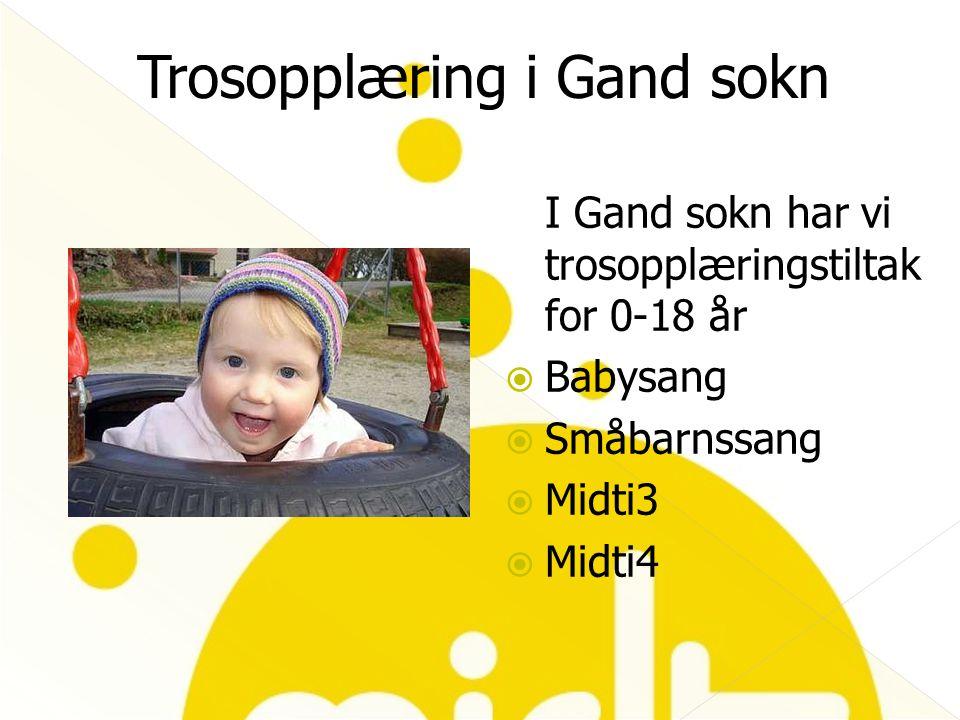 I Gand sokn har vi trosopplæringstiltak for 0-18 år  Babysang  Småbarnssang  Midti3  Midti4 Trosopplæring i Gand sokn