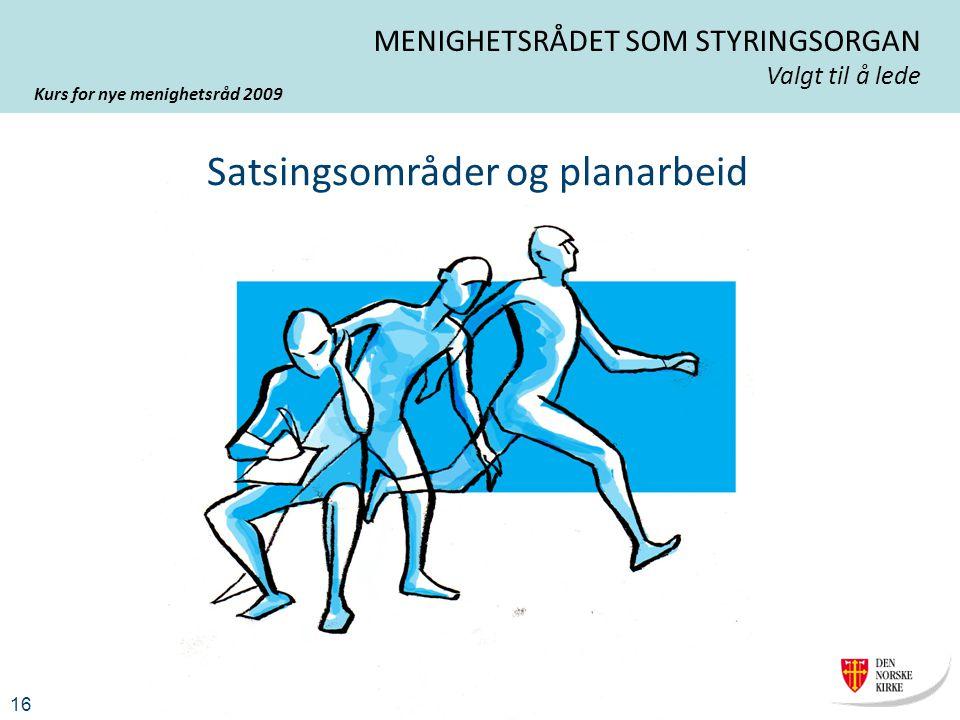 Kurs for nye menighetsråd 2009 16 MENIGHETSRÅDET SOM STYRINGSORGAN Valgt til å lede Satsingsområder og planarbeid