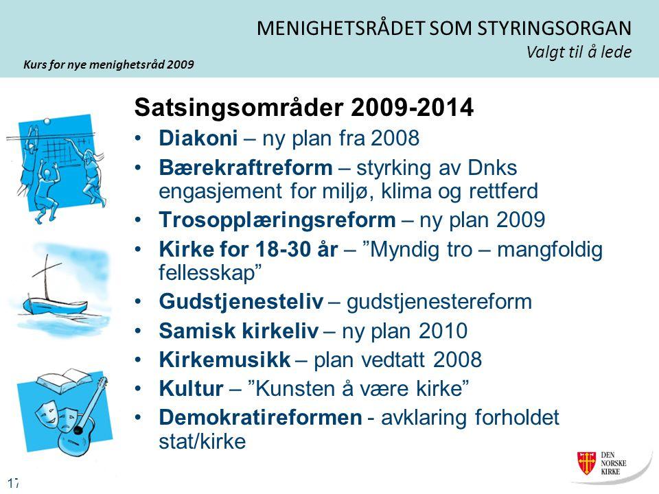 Kurs for nye menighetsråd 2009 17 MENIGHETSRÅDET SOM STYRINGSORGAN Valgt til å lede Satsingsområder 2009-2014 Diakoni – ny plan fra 2008 Bærekraftrefo