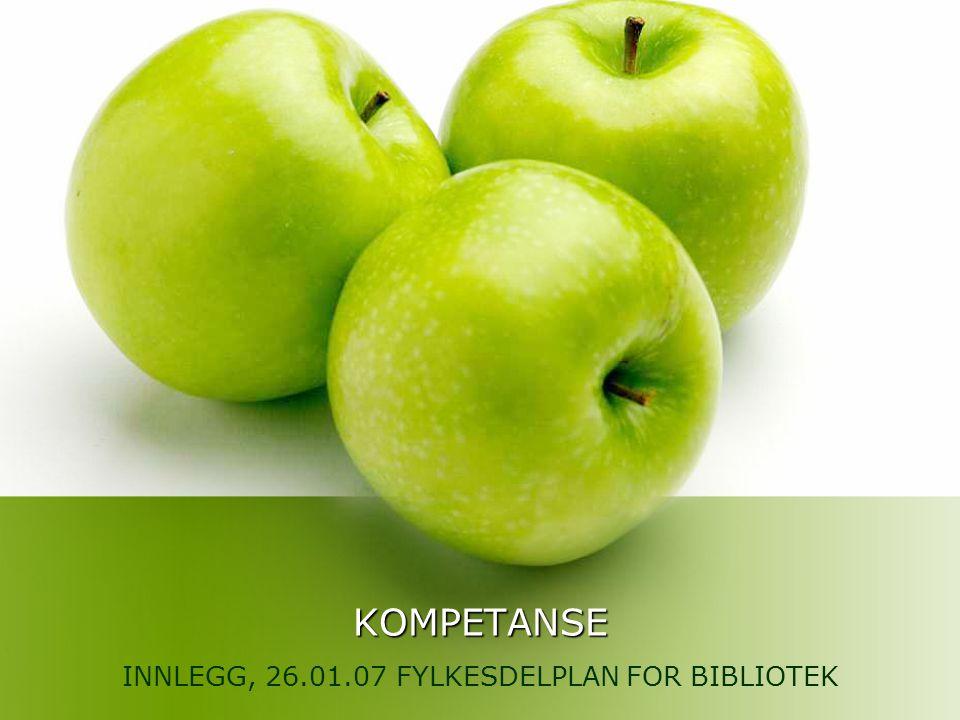 KOMPETANSE INNLEGG, 26.01.07 FYLKESDELPLAN FOR BIBLIOTEK